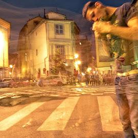 Le piéton inattendu by Phot ' O 3 P - City,  Street & Park  Street Scenes ( nuit, vitesse lente, rue, piéton,  )