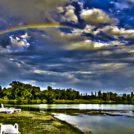 Over The Rainbow by Stefan Stevanovic - Landscapes Weather ( water, bela crkva, lakescape, lakes, weather, lake, beach, landscape, rainbow,  )