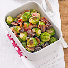 Roasted Sprouts With Chestnuts & Bacon