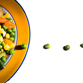 Esca-peas by Nicole Williams - Novices Only Objects & Still Life ( abstract, still life, food, plate, vegetables, fun )