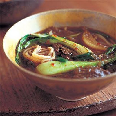 Baby Bok Choy and Beef Noodle Soup with Warm Spices