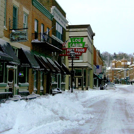 Snow in Downtown Galena by Kathy Rose Willis - City,  Street & Park  Markets & Shops ( galena, winter, illinois, snow, tourism, historical, main street )