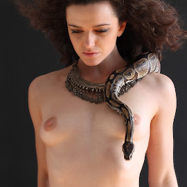 The snake and the beauty by Vikram Mehta - People Portraits of Women ( snake, girl, nude, jewellery, beautiful, art, artistic, necklace,  )