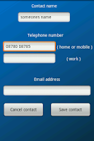Screenshot of Quick add contacts widget