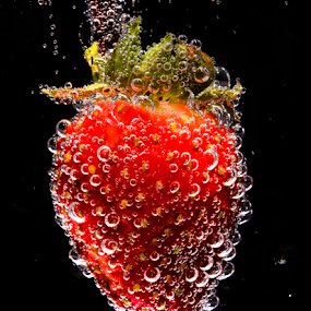 Strawberry Drop by Don Alexander Lumsden - Food & Drink Fruits & Vegetables ( , Food & Beverage, meal, Eat & Drink )