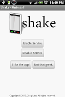 Screenshot of Shake - Uninstall