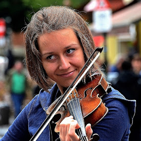 The Gorgeous Violinist by Francis Xavier Camilleri - People Musicians & Entertainers ( charming, girl, violin, smile, portrait, eyes,  )
