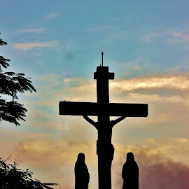 Awaiting His Resurrection ! by Anoop Namboothiri - Buildings & Architecture Statues & Monuments ( clouds, mountains, resurrection, silhouette, jesus, place of worship, dramatic, anoop namboothiri, weather, crucifying, worship, cross )