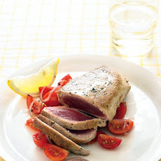 Tuna Steaks with Lemony Tomatoes and Onion