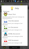Screenshot of SMS to (Text,PDF,Share SMS)