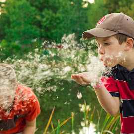Catonine Fun by Blaine Linton - Babies & Children Children Candids ( wind, play, children, candid, fun, kids, tail, kid, child, playing, blowing, nature, boys, catonine, boy, blow )
