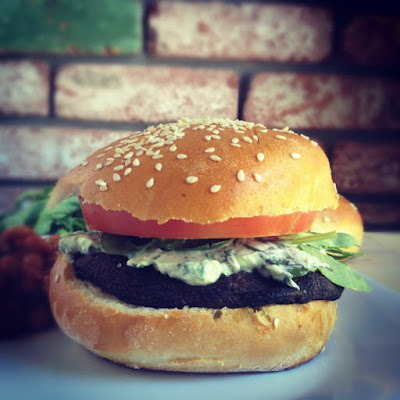 Portobello Burgers with Basil Goat Cheese Spread