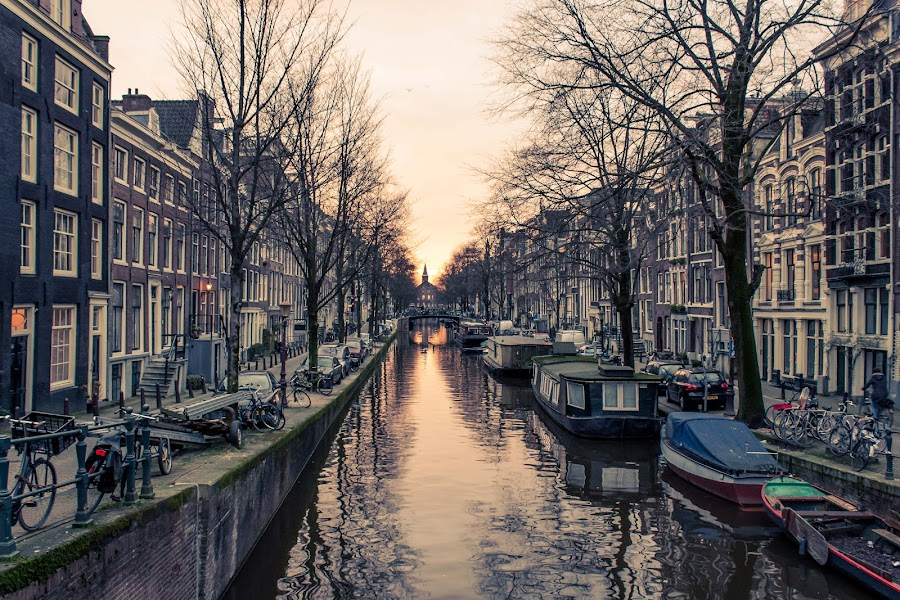 Amsterdam Sunset by Will Ballew - City,  Street & Park  Historic Districts ( cana, sunset, amsterdam )