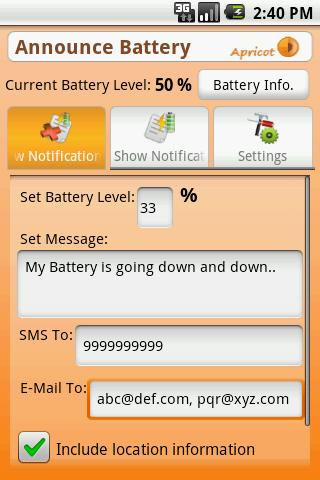 Announce Battery