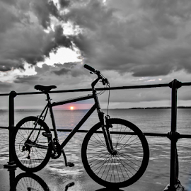 Sun & Bike! by Jesus Giraldo - Transportation Bicycles ( concept, silouette, bike, sunset, lake, beauty )