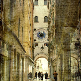 Nerrow street in Venice by Iva Aviana - City,  Street & Park  Historic Districts ( texture, street, venice, perspective, vault, historical, people, italy, arcade )