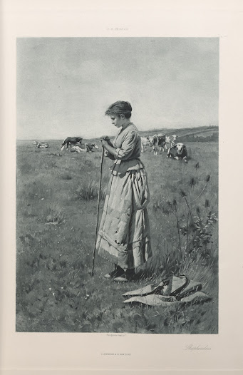 Genre scenes were popular to paint and collect during the Gilded Age. This photogravure of a painting by American artist Charles Sprague Pearce is found in <i>Recent Ideals of American Art</i>.