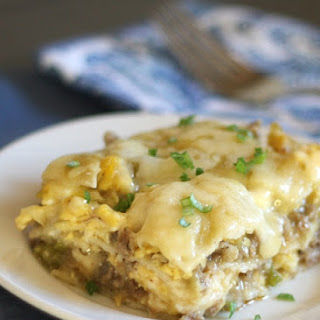 Scrambled Egg and Sausage Stacked Enchiladas