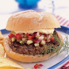 Black Bean Burgers with Spicy Cucumber and Red Pepper Relish