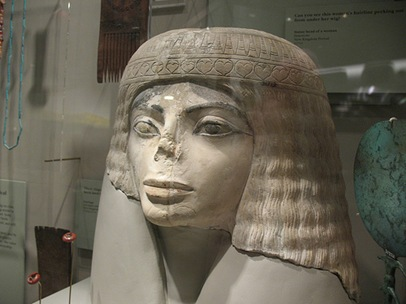 Michael Jackson lookalike ancient Egyptian woman sculpture