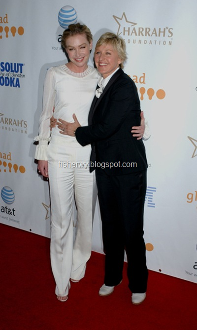 Gay couple Portia De Rossi and Ellen DeGeneres photo