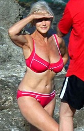Helen Mirren pink bikini photo