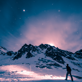 Lost in the night by Stirbu Eduard Aurel - People Street & Candids ( mountains, stars, snow, night,  )