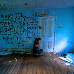 I want you by Andrew Hale - Buildings & Architecture Decaying & Abandoned ( blue, graffiti, want, abandoned, decay )