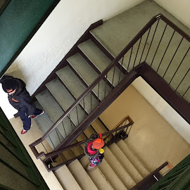 The Long Road by Jennifer Bacon - Instagram & Mobile iPhone ( walking, stairs, witner, stairwell, children, down, kids )