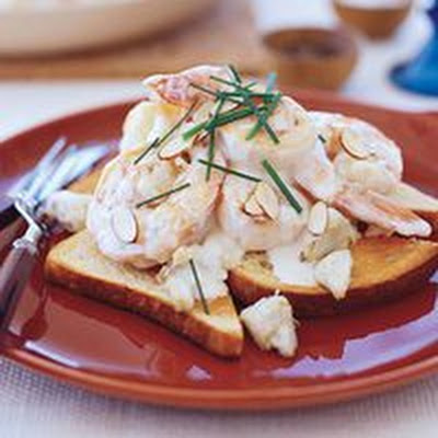 Seafood Newburg on Buttered Toast Points
