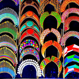 BRIGHT ARCS by Doug Hilson - Abstract Patterns ( arcs, pattern, bright color, india, display, necklaces )