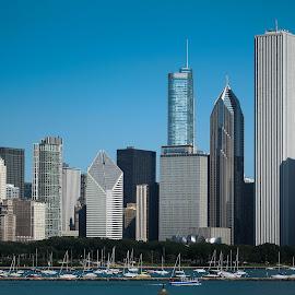 Chicago City Skyline by Jennifer Bacon - City,  Street & Park  Skylines (  )