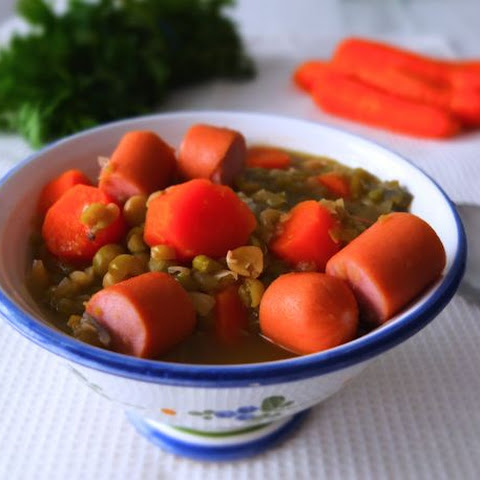 German Pea Soup with Frankfurter Sausages