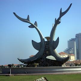 Sharks Fountain in Fujairah, United Arab Emirates by Matt Dittsworth - Buildings & Architecture Statues & Monuments ( fujairah, sharks fountain in fujairah, uae, fountain, shark, united arab emirates,  )