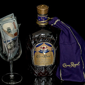 Tip of the day ? by Michael Wolfe - Food & Drink Alcohol & Drinks ( whiskey, crown royal, paper money, glass, advertisement, advertising photography,  )