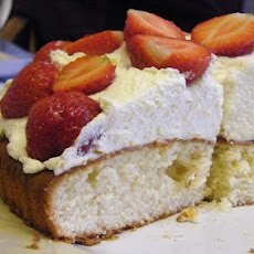 Lemon Sponge Cake with Lemon Cream & Strawberries