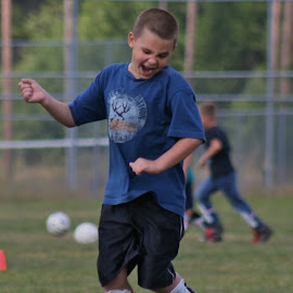 Yeah! by Lora Treat - Sports & Fitness Soccer/Association football ( excitement, action, candid, kids, boy, soccer )
