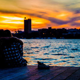 Boston Sunset by Tyler McAndrew - People Couples ( charles river, sunset, couple, pretty, dock )