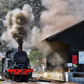 Passing through by Antonio Amen - Transportation Trains ( railway, station, railroad, train, house, steam )