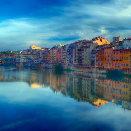 Florence on the Arno by CLINT HUDSON - Landscapes Travel ( arno river, florence, blue, italy, river )