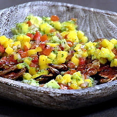 Grilled Soft-shell Crabs with a Mango Avocado Salsa
