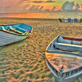 Two Boats & Chairs  by Robert Castellino - Landscapes Beaches ( beach scene, chair, chairs, boats, tranquility, sunrise, beach, boat, Chair, Chairs, Sitting )