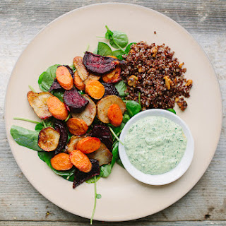 Roasted Beets, Carrots, and Jerusalem Artichokes with Lemon and The Greenest Tahini Sauce