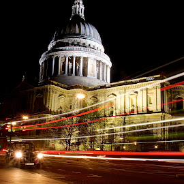 by James Blyth Currie - City,  Street & Park  Street Scenes ( taxi, london, st pauls cathedral, street, light trails, night )
