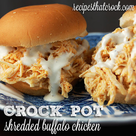 Shredded Buffalo Chicken Sliders {Crock Pot}