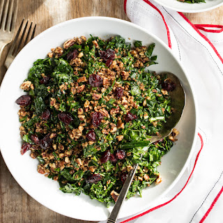 The Best Shredded Kale Salad with Pecan Parmesan and Cranberries