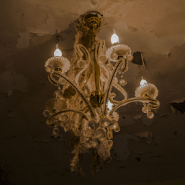 Chandelier of old room by Riad Zbeida - Artistic Objects Furniture ( old house, chandelier, wallpaper, light, room )
