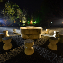 The Table of Silence by Bogdan Balas - Buildings & Architecture Statues & Monuments ( sculpture, targu jiu, table of silence, night photography, brancusi )