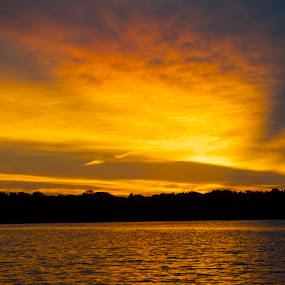 Ft Cobb Sunset  by Stephanie Hampton - Landscapes Sunsets & Sunrises ( sky, sunset, lake, sun,  )