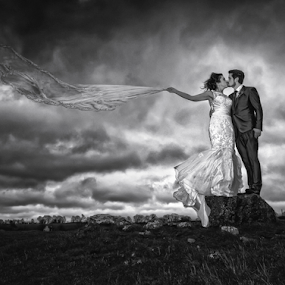 Windy by Adrian O'Neill - Wedding Bride & Groom ( love, wind, wedding photography, weddings, couple, wedding photographer,  )